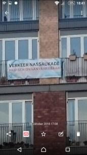 Protest bewoners De Makroon luchtkwaliteit Nassaukade