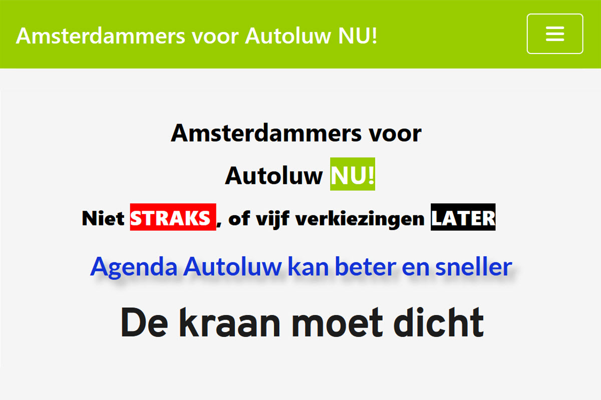 Amsterdammers voor autoluw NU!