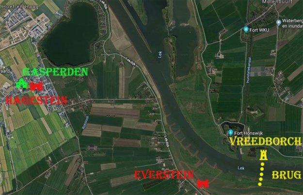 Locatie Vreedboch en de bestormde kastelen tijdens de Arkelse Oorlogen.