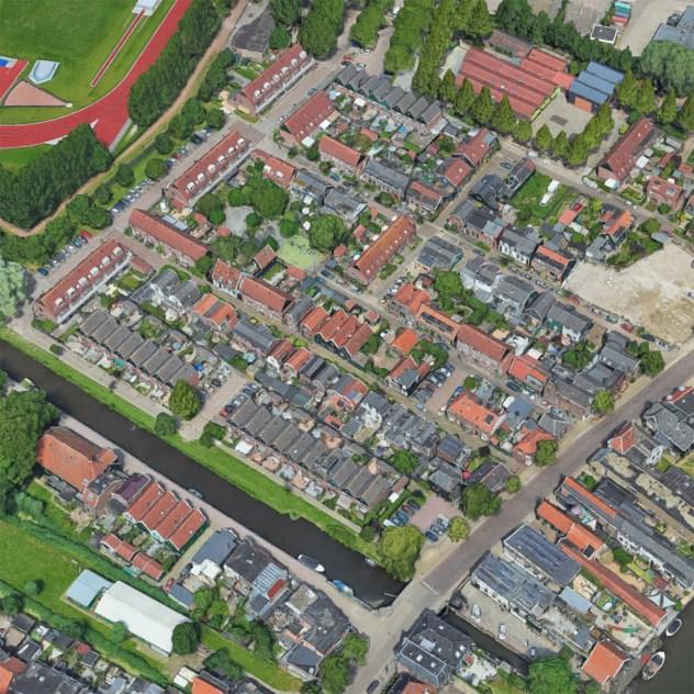 Luchtfoto van de Harenmakersbuurt in Oud-West
