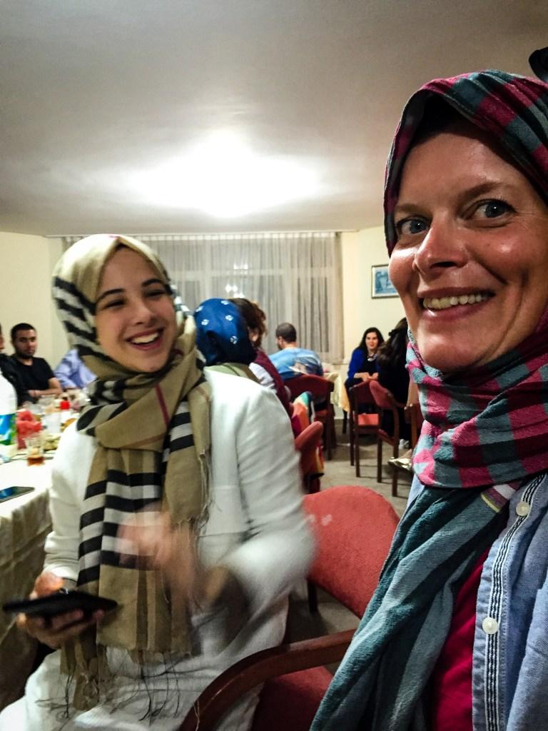 Hijab lesson at the Iftar table