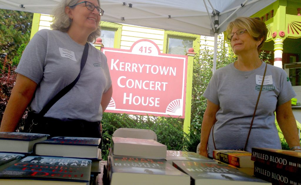 """The Kerrytown Bookfest is """"a celebration of everything about the book from printing, binding, writing, selling. Every aspect of the book is covered,"""" said President Robin Agnew, left. With her is Sharon Gambin, the organization's vice president. PHOTO/SHANA BOSLEY"""
