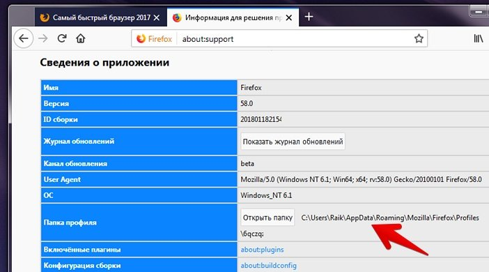 Путь к папке с профилем Firefox
