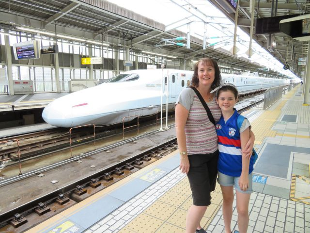 Me and my girl, about to get on the Shinkansen - Bullet train.