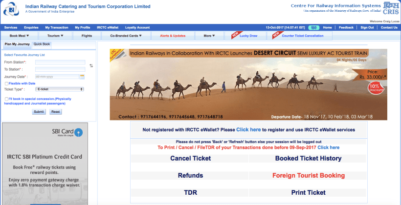 Booking online with Indian Rail