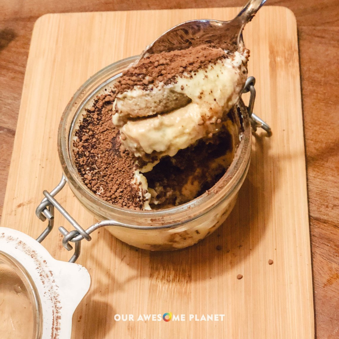 Tiramisu (₱395). Mascarpone mousse, disaronno, coffee cake, cacao