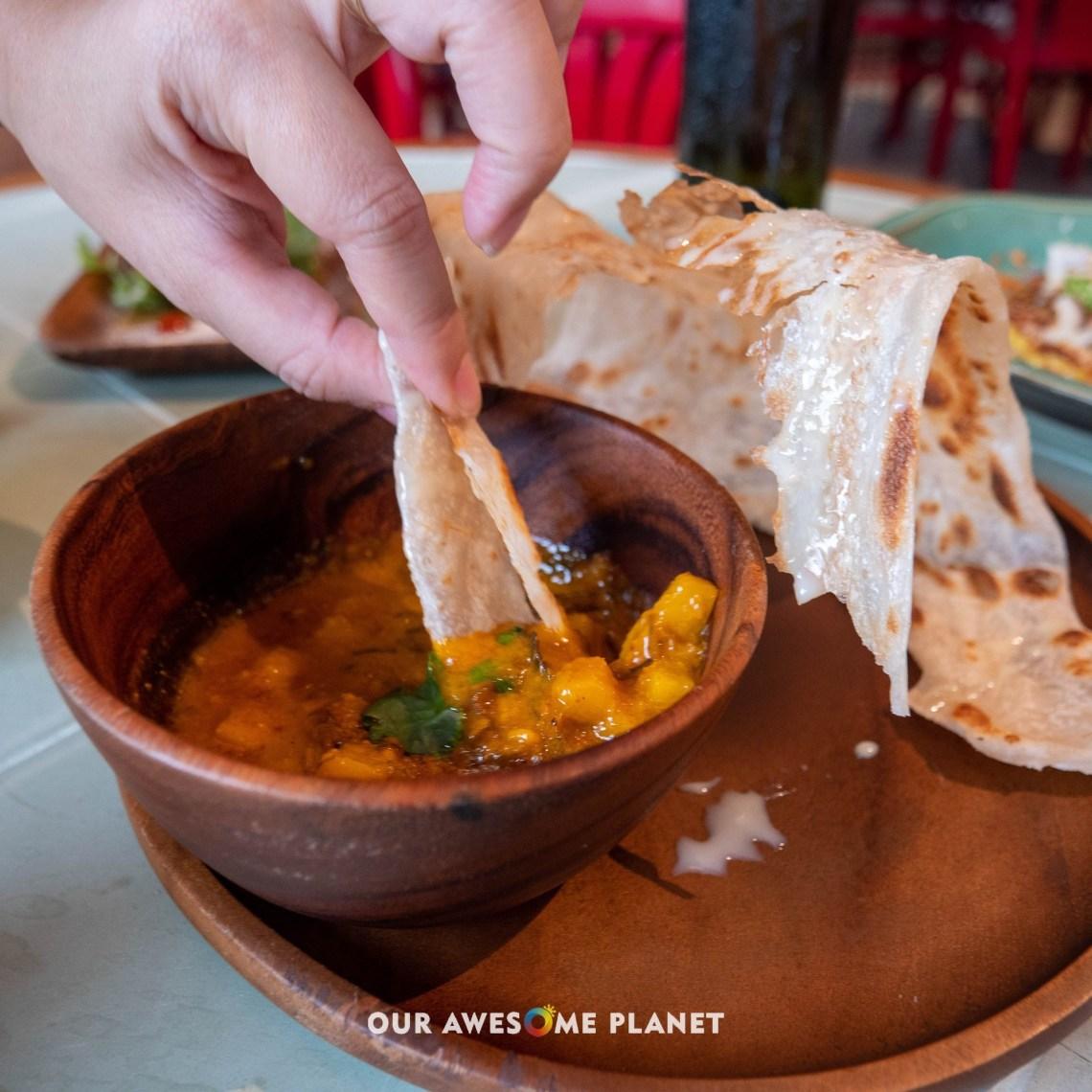 Roti Canai with Peanut Curry