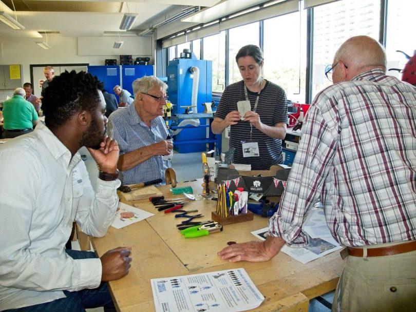 L-R: Simeon Tubi (BBB Centre) Tony (Geezer), Michelle Reader (artist), Ray Gipson Geezer). Building Men's Health project.