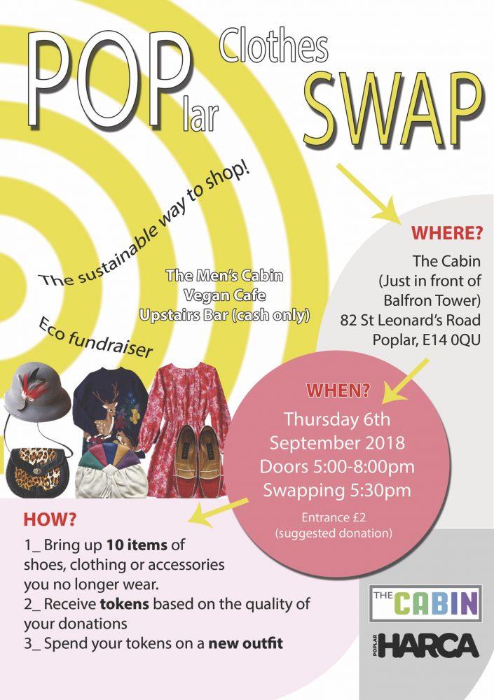 Poplar clothes swap flyer 6th Sept 2018