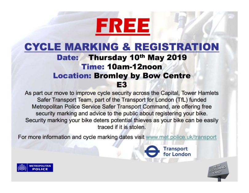 Cycle Marking Thurs 10th May Bromley by Bow