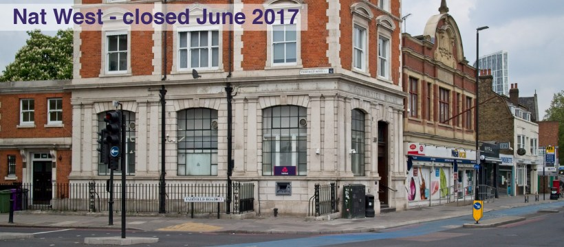 Was National Westminster Bank, corner of Fairfield Road - 161 Bow Road. closed June 2017