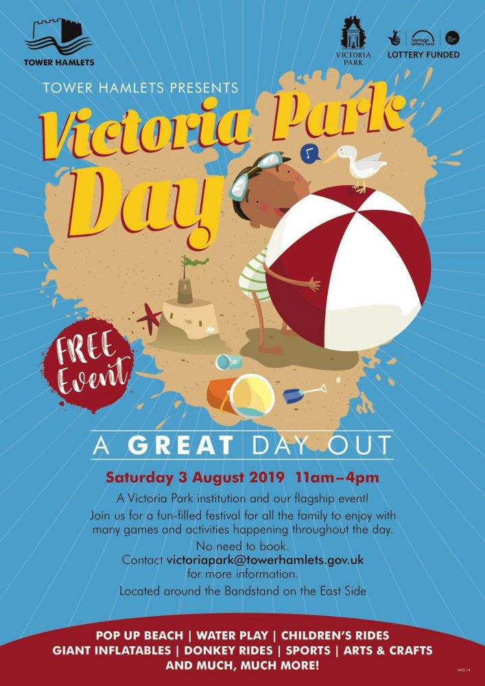 Victoria Park events 3rd Aug 2019 poster
