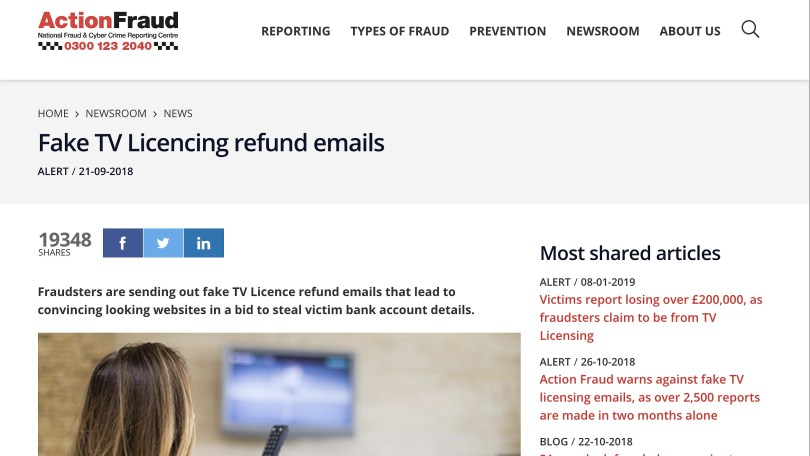 Action Fraud Fake TV licence refund emails