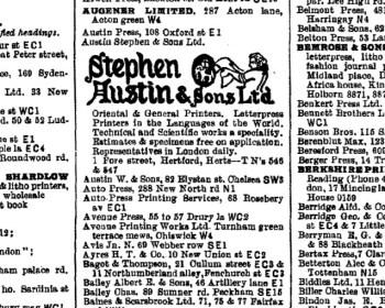 Printers in 1939 London PO directory