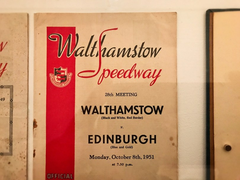 Speedway programme on display in Lightboxes to Lettering exhibition