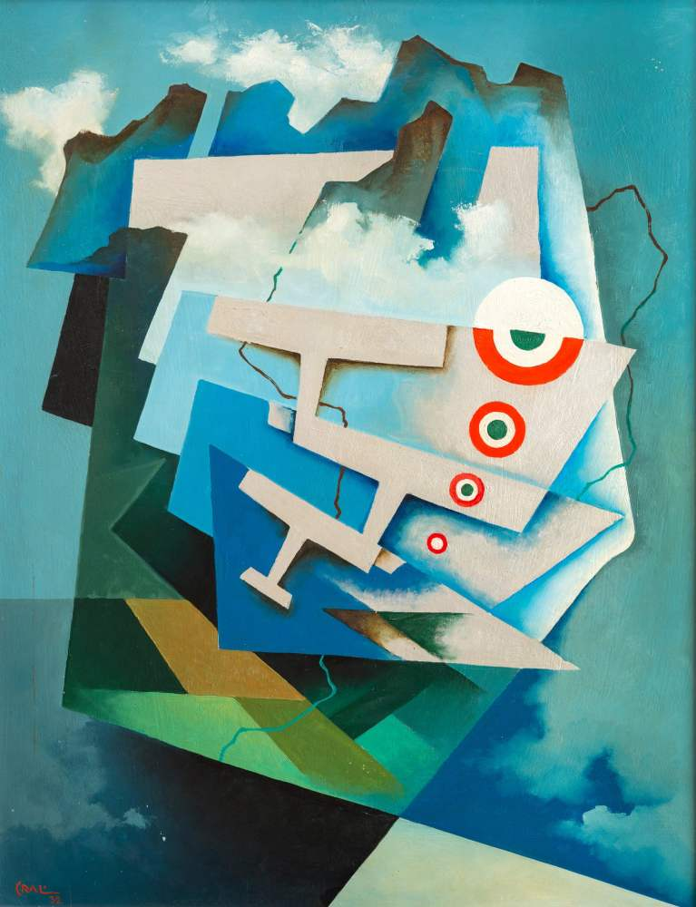 Sudden uplift: Tricolour Wings. 1932. by Tullio Crali. Painting on display in the exhibition at the Estorick Collection.