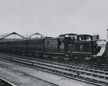 Passenger train travelling through Devons Road on the way to Broad Street Station in 1898. Note the four wheeled carriages. Image courtesy Science Museum Group.