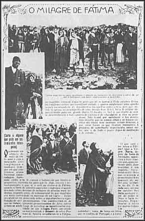 Esta página da Ilustração Portugueza, 29 de outubro de 1917, mostrando a multidão olhando para o Milagre do Sol durante as aparições de Fátima, cortesia da Wikipedia