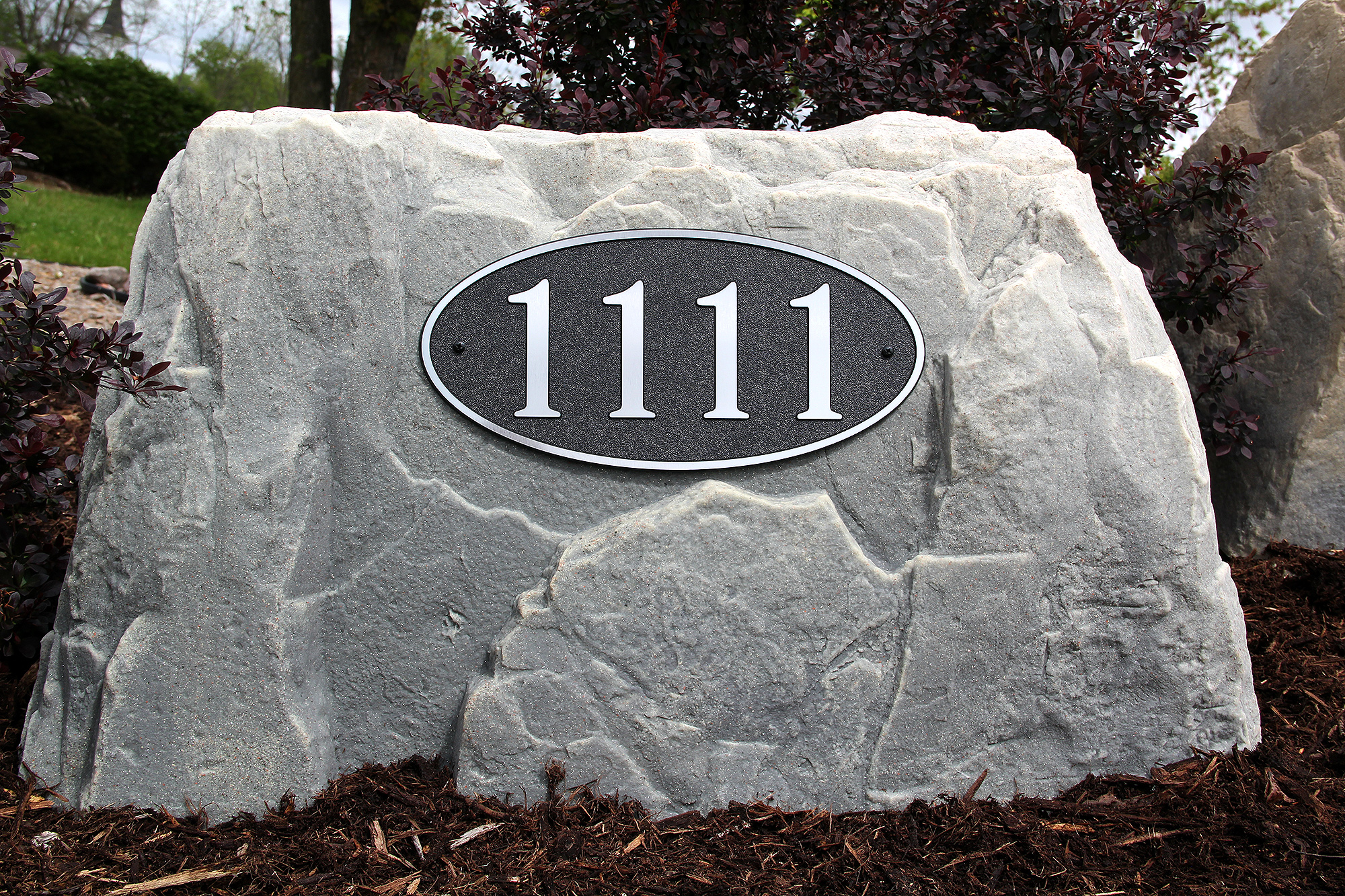 Long Oval Address Plaque On Rock