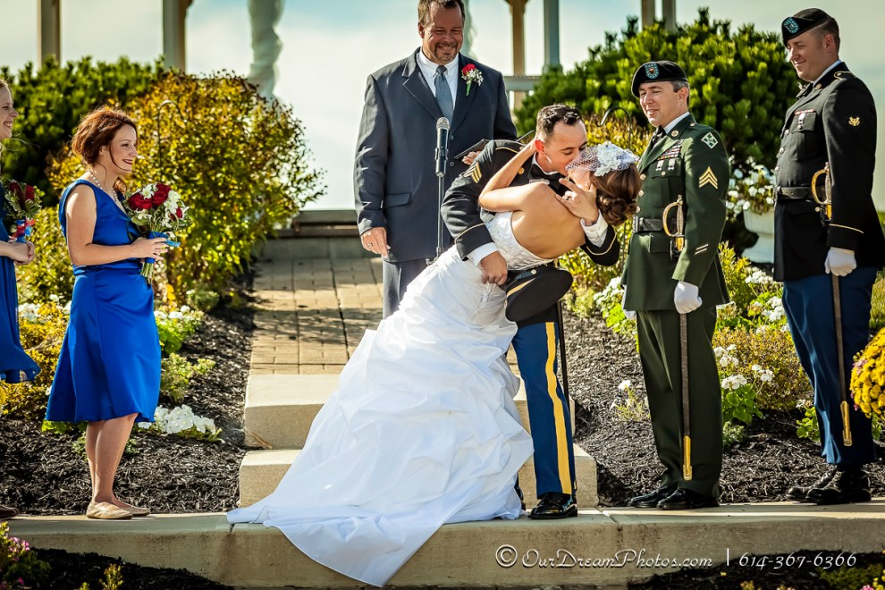 The wedding and reception of Sarah Morris & SGT Chris Shepherd photographed Saturday, September 27, 2014 at All Occasions Catering in Waldo, Ohio. (© James D. DeCamp   http://OurDreamPhotos.com   614-367-6366)