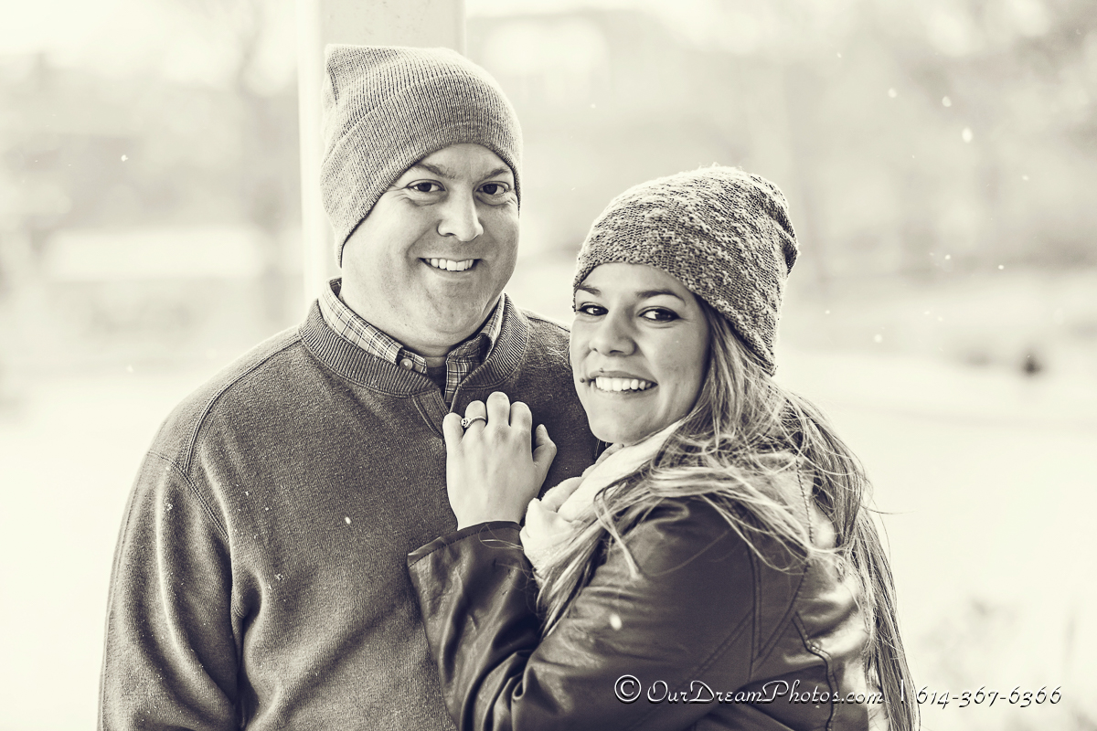 Engagement session with Jessica Gonzalez and Mark Tindle photographed Saturday, November 23, 2013 in the Short North of Columbus, Ohio. (© James D. DeCamp | http://OurDreamPhotos.com | 614-367-6366)