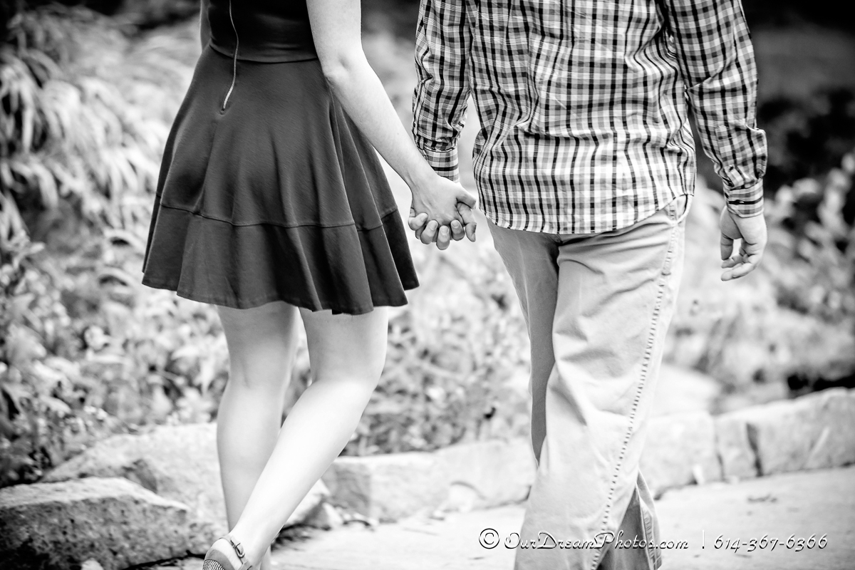 Engagement session with Jackie Powers and Tyler Merkle photographed Tuesday, September 27, 2016 at Innis Woods Metro Gardens in Columbus, Ohio. (© James D. DeCamp | http://OurDreamPhotos.com | 614-367-6366)