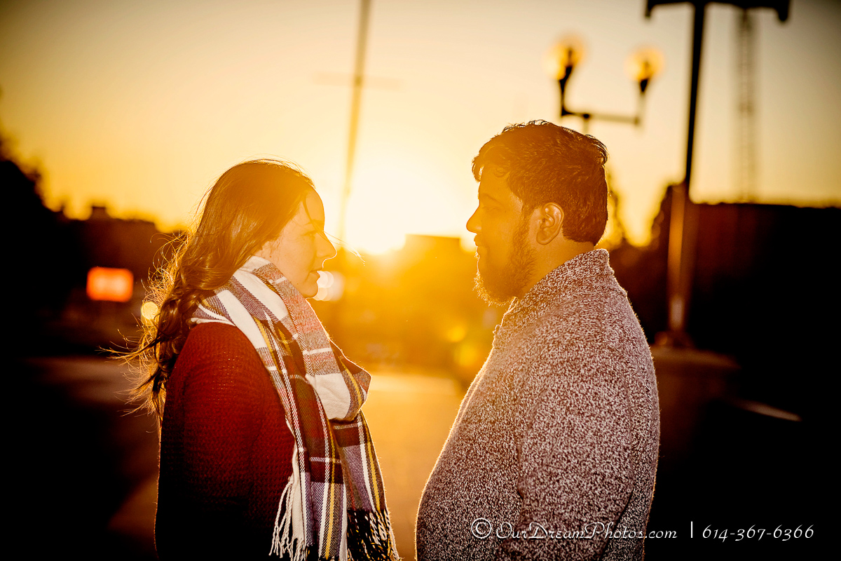 Engagement session with Emily Sites and Mike Manickam photographed Saturday, October 8, 2016 at the Scioto Mile. (© James D. DeCamp   http://OurDreamPhotos.com   614-367-6366)
