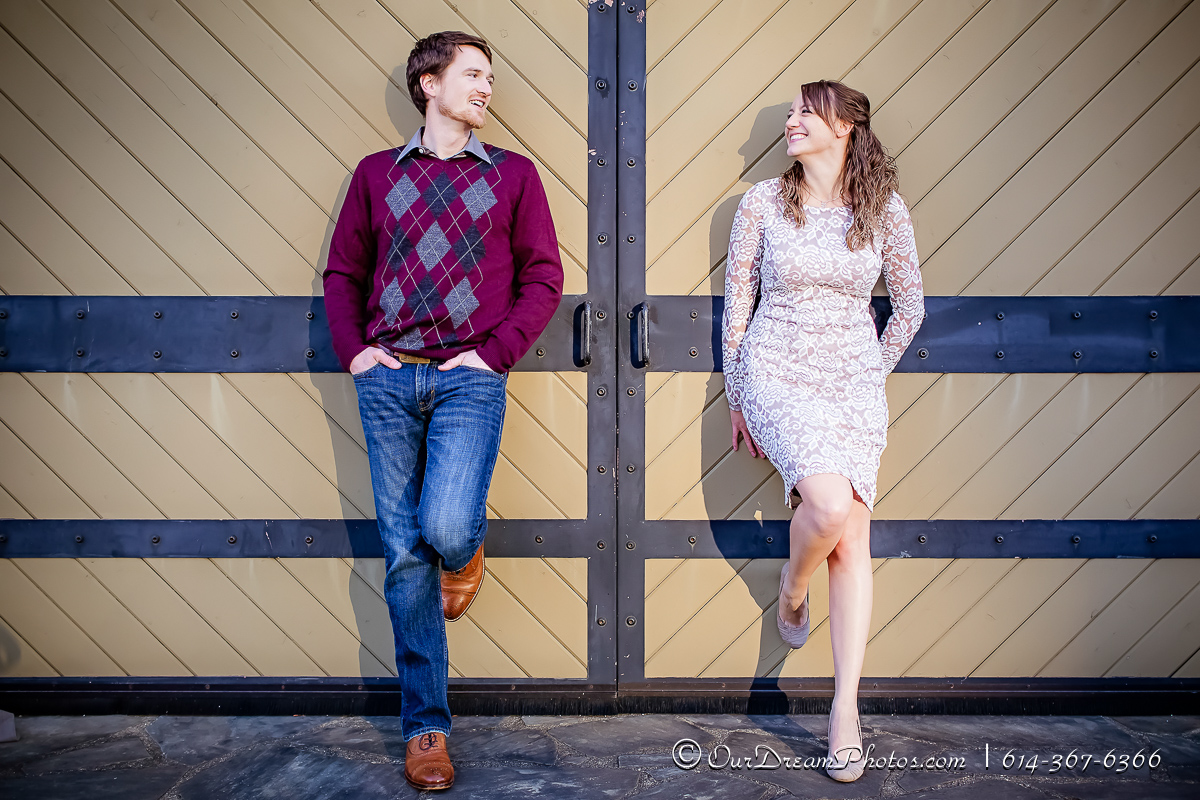 Engagement session with Katie Pastor and Thad Ruffing photographed Sunday, November 27, 2016 at North Bank Park in Columbus, Ohio. (© James D. DeCamp | http://OurDreamPhotos.com | 614-367-6366)