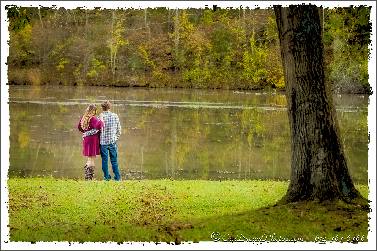 Engagement session with Gina Sacchetti and Russ Smith photographed Monday, October 16, 2017 at Strouds Run Park in Athens, Ohio. (© James D. DeCamp | http://OurDreamPhotos.com | 614-367-6366)