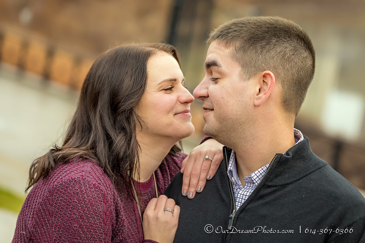 Engagement session with Julianne Noll and Brian Charles photographed Saturday, December 23, 2017 at Northbank Park and The OSU Campus. (© James D. DeCamp | http://OurDreamPhotos.com | 614-367-6366)