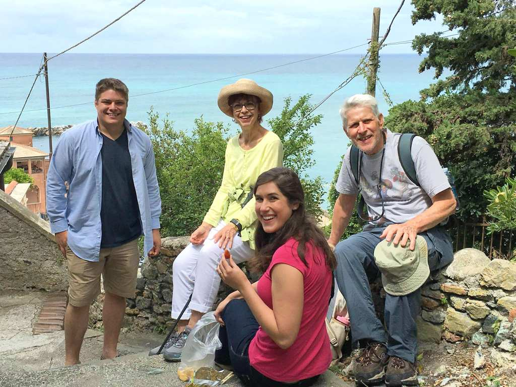 Kate and Jeremy hiking with their grandparents in Levanto Italy.