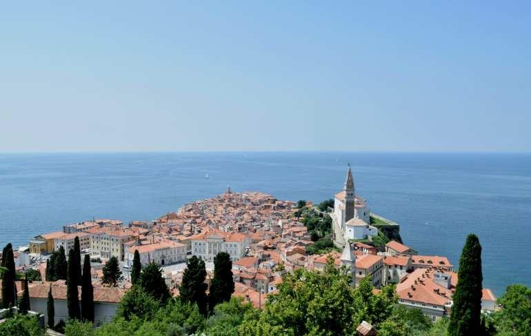 View of Piran Slovenia fro the town walls--don't miss this climb when visiting Piran!