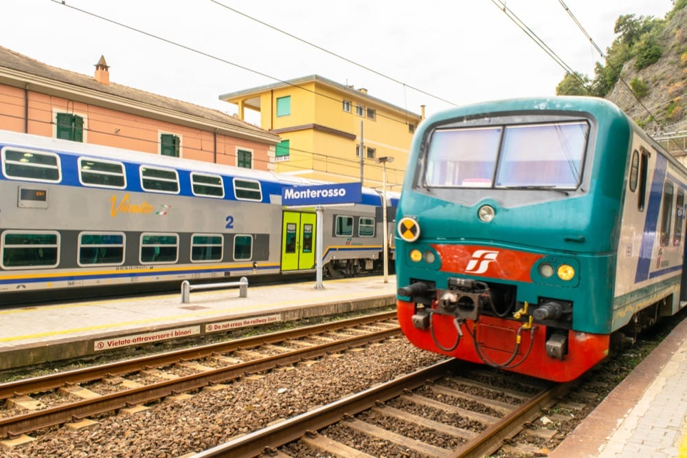 Train leaving the station in Cinque Terre