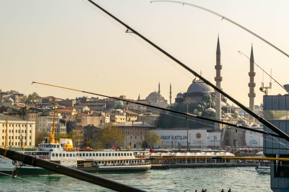 2 Days in Istanbul Itinerary: Fishing Poles on Galata Bridge