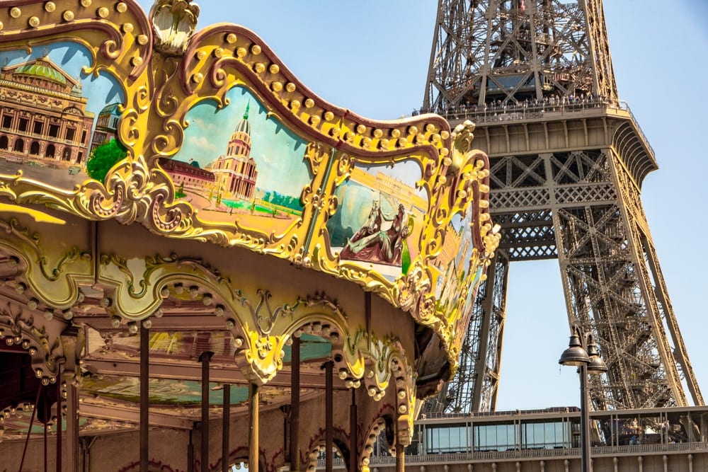Paris in August: Eiffel Tower with Carousel