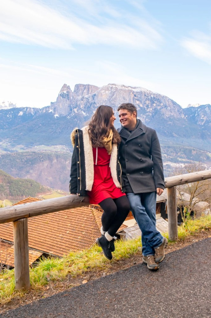 Couple in Soprabolzano: these coats are a great example of what to add to your packing list for Europe winter.