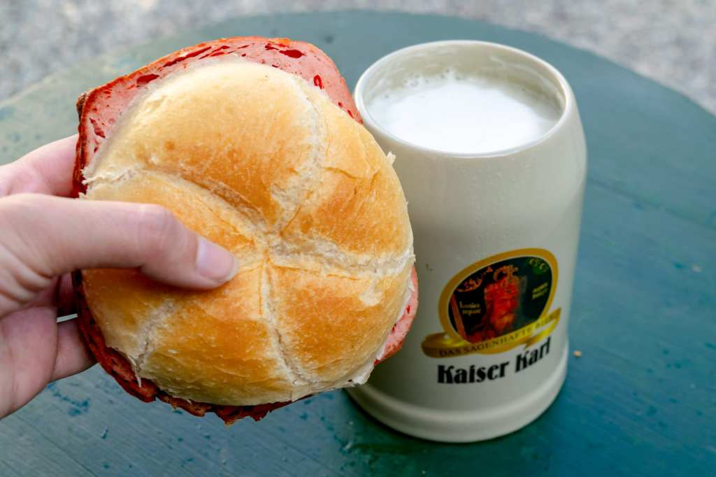 Austria Christmas Market: Leberkas and Beer