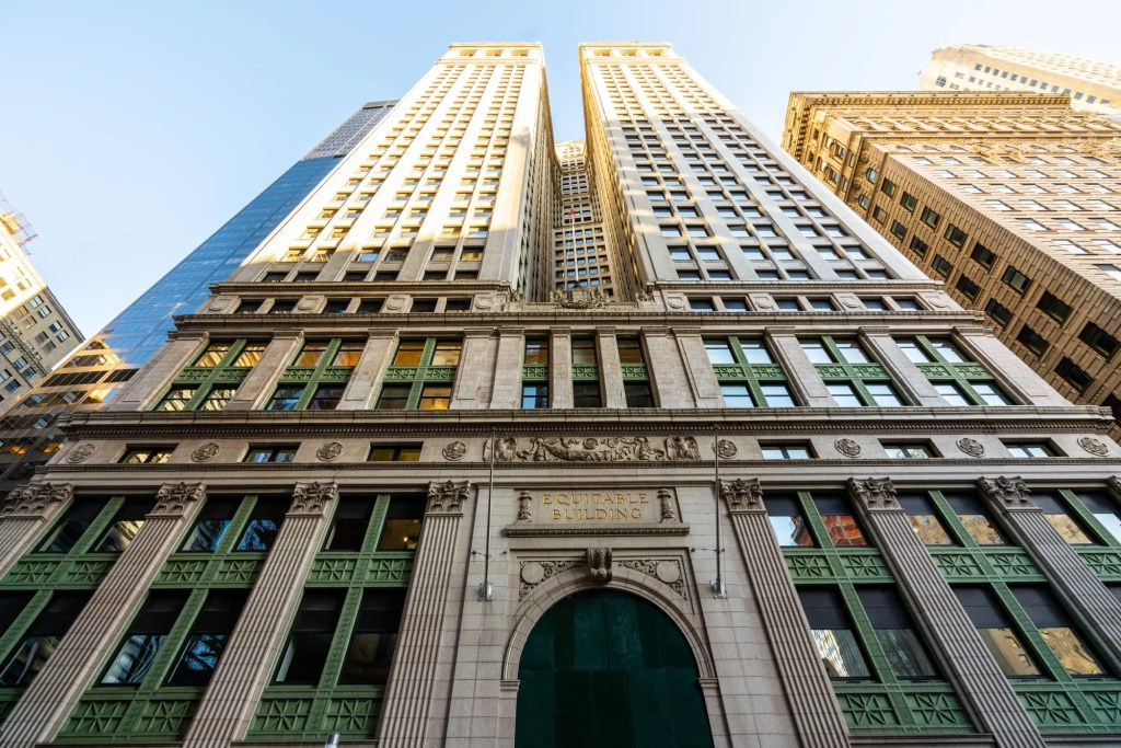 Photo of the Equitable Building in the Financial District as seen looking up--a common sight, even seeing NYC in a day.