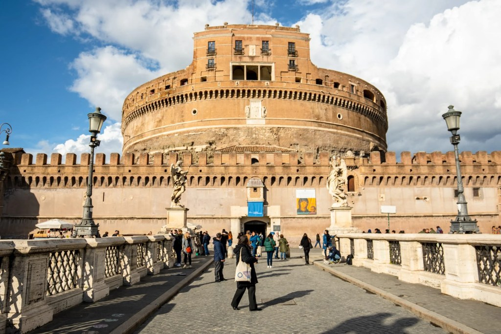 Castel Sant'Angelo seen from Angel Bridge in February, Rome in Winter