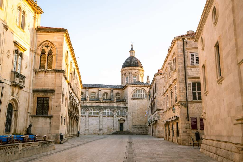 Fun Things to Do in Dubrovnik Croatia: Empty street dead ending into Dubrovnik Cathedral