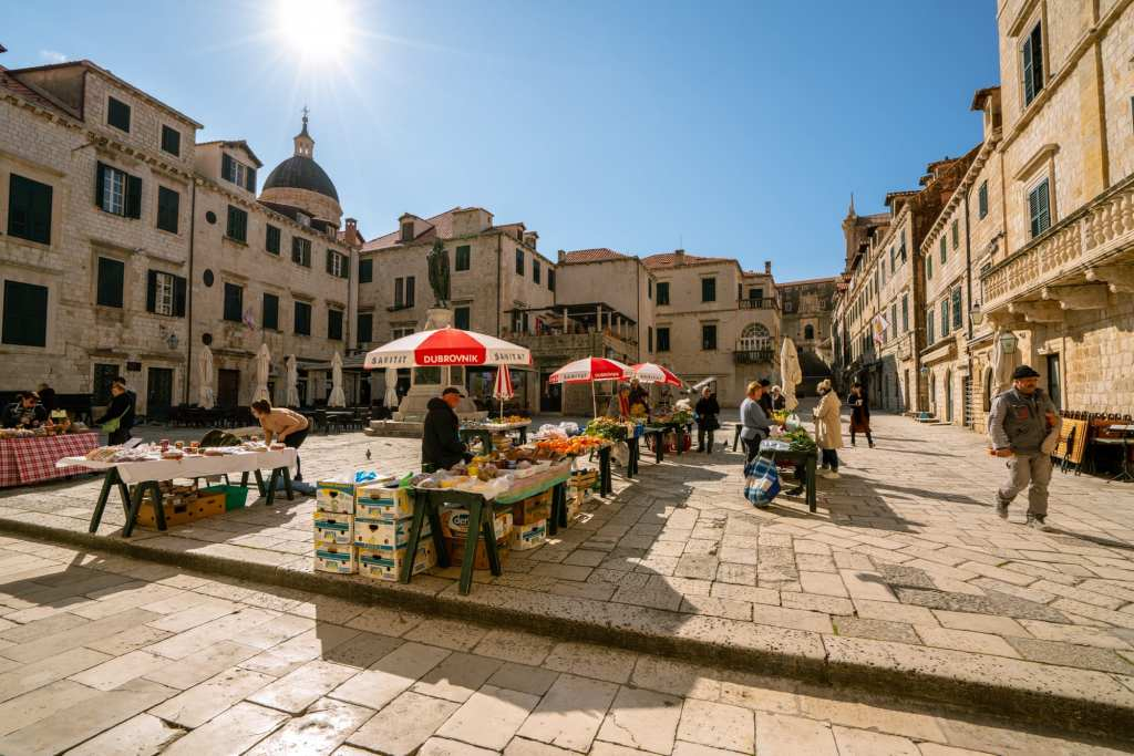 Fun Things to Do in Dubrovnik Croatia: Local Market in Town Square