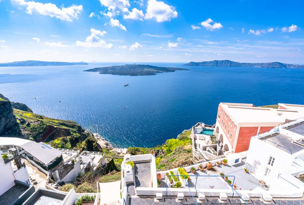 View of sea from Thira in Santorini, Packing List for Europe Summer