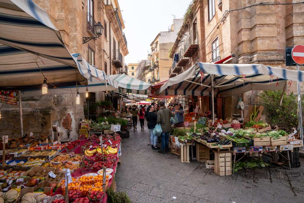 Outdoor Capo Market food stalls, Best Things to Do in Palermo