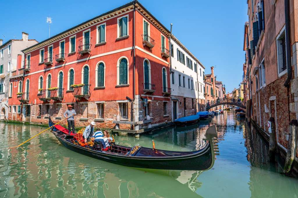 Photo of a gondola in a canal near Cannaregio