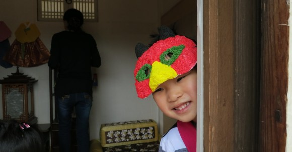 Nolan made his own mask as part of the Chuseok Festivities