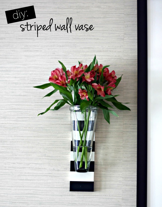 diy striped wall vase
