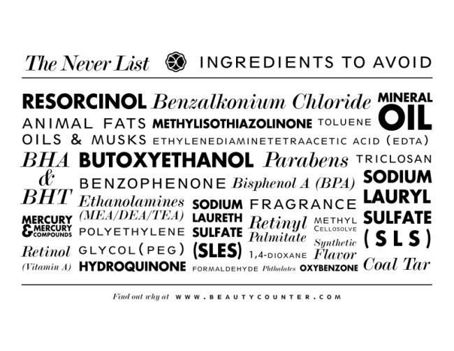 Beautycounter Never List