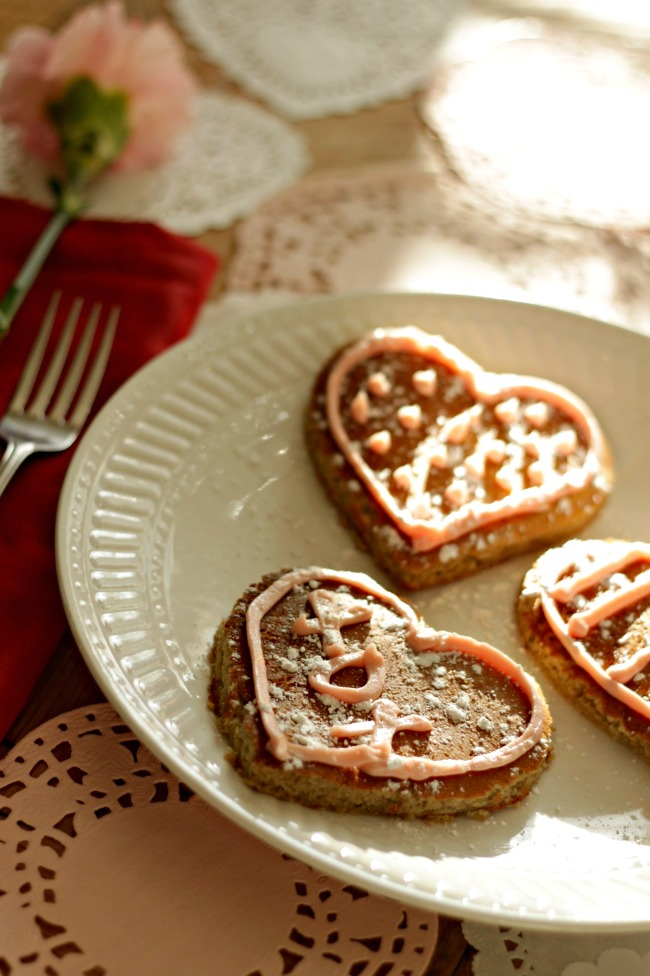 valentines breakfast - gluten free heart pancakes