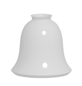white bell shaped glass shade