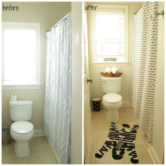 before and after shower area